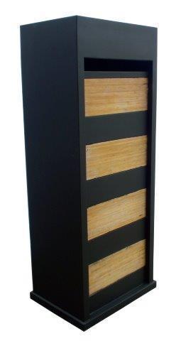 Zwarte brievenbus bamboe Model 47